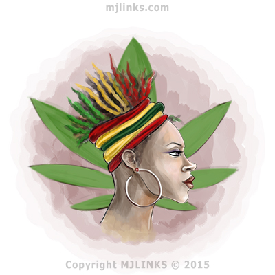 African Woman wearing Rastafari colors upon marijuana leaf
